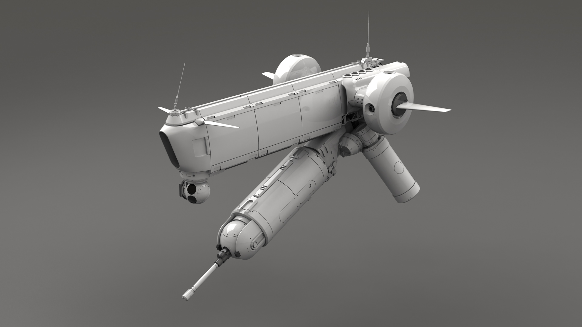 Hover-Drone - Clay render front